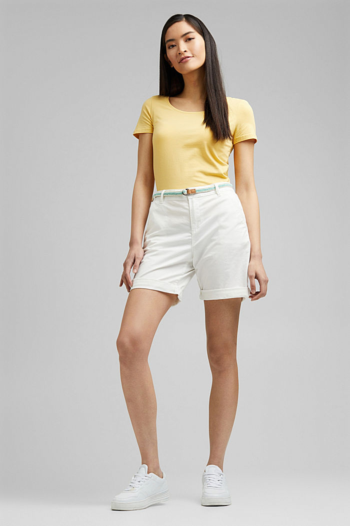 Stretch cotton Bermudas with a belt, WHITE, detail image number 1