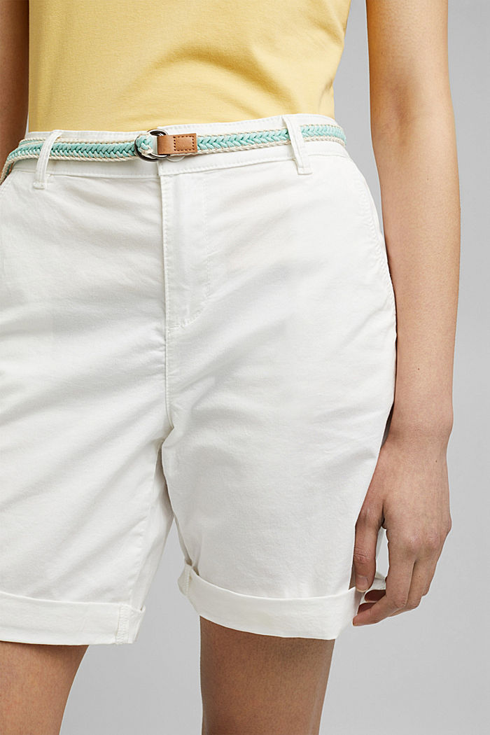Stretch cotton Bermudas with a belt, WHITE, detail image number 2