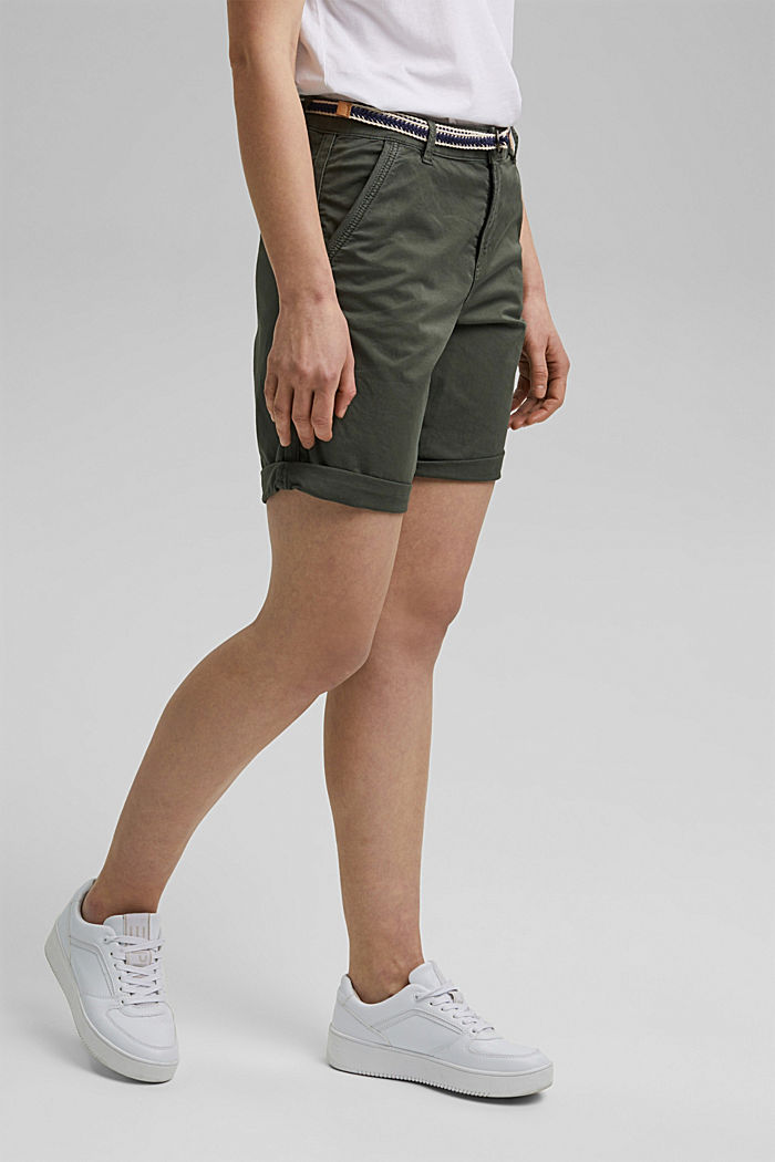 Stretch cotton Bermudas with a belt, KHAKI GREEN, detail image number 0