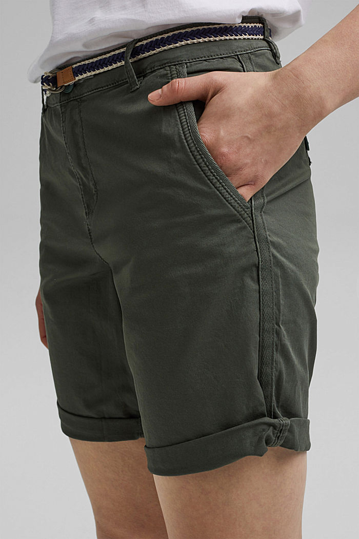 Stretch cotton Bermudas with a belt, KHAKI GREEN, detail image number 2