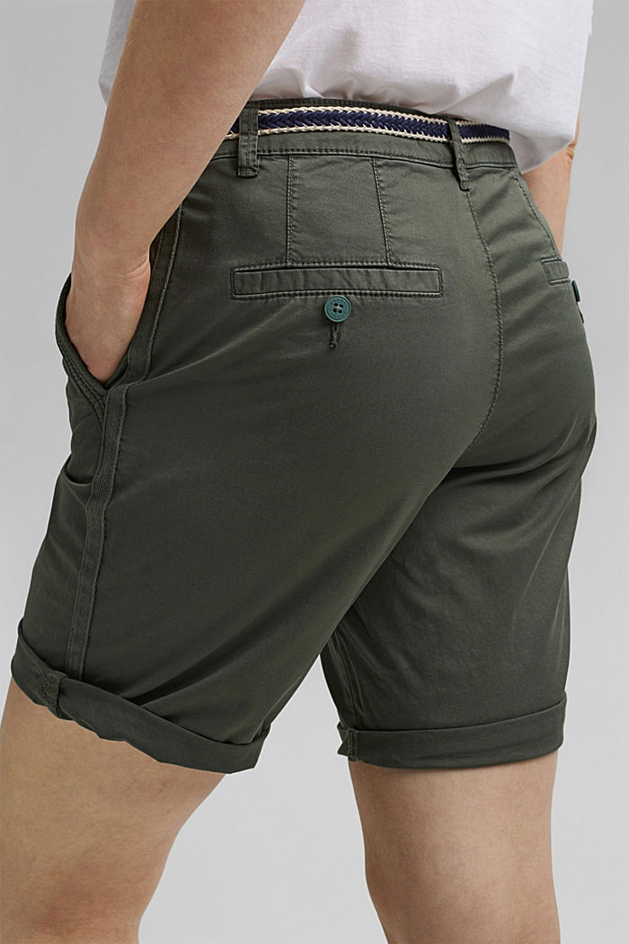 Stretch cotton Bermudas with a belt, KHAKI GREEN, detail image number 5