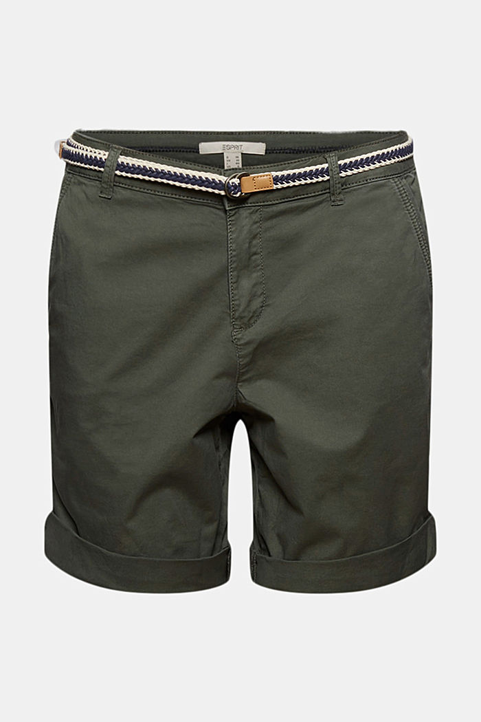 Stretch cotton Bermudas with a belt, KHAKI GREEN, detail image number 6