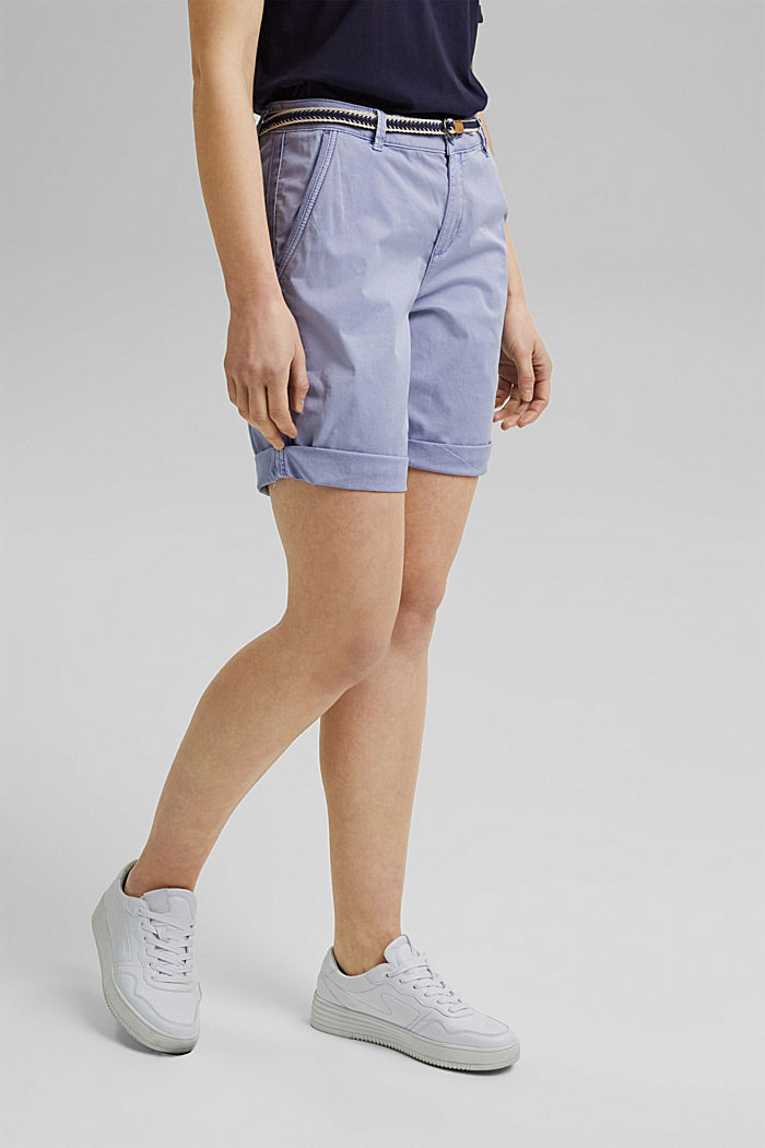 Stretch cotton Bermudas with a belt, PASTEL BLUE, detail image number 0