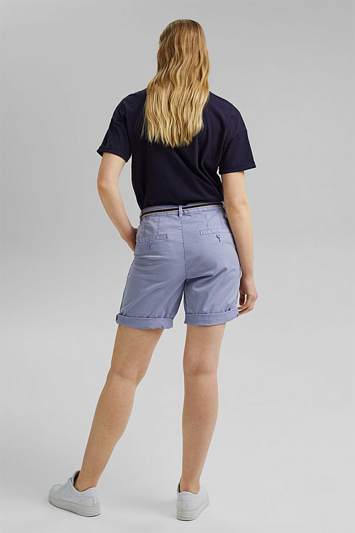 Stretch cotton Bermudas with a belt, PASTEL BLUE, detail image number 3