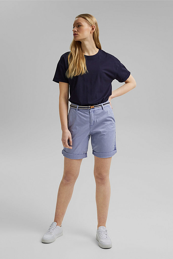 Stretch cotton Bermudas with a belt, PASTEL BLUE, detail image number 1