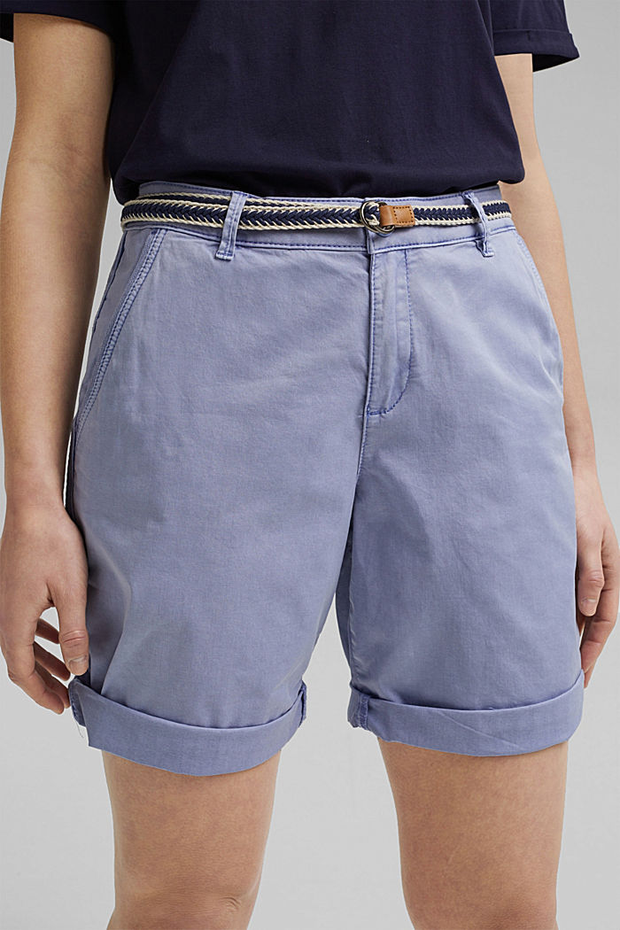 Stretch cotton Bermudas with a belt, PASTEL BLUE, detail image number 2