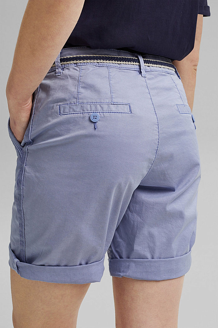 Stretch cotton Bermudas with a belt, PASTEL BLUE, detail image number 5