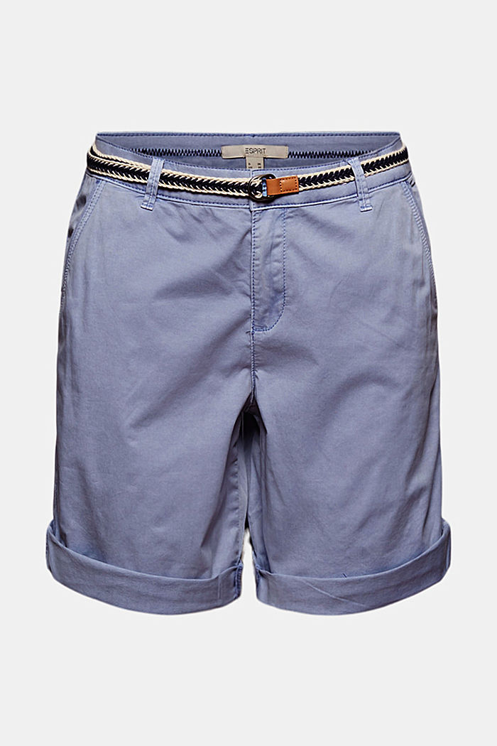 Stretch cotton Bermudas with a belt, PASTEL BLUE, detail image number 6