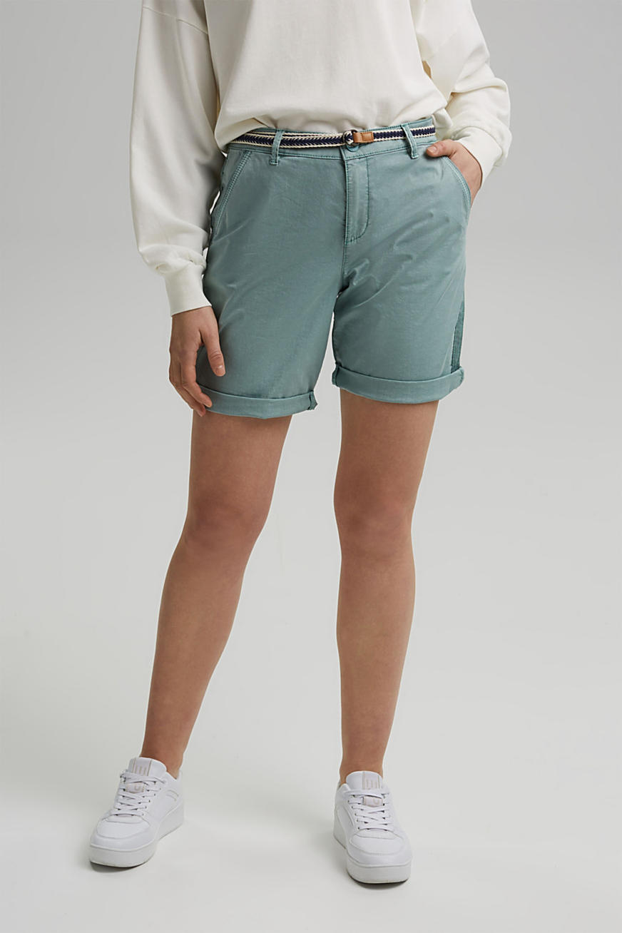 Stretch cotton Bermudas with a belt