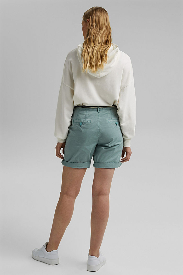 Stretch cotton Bermudas with a belt, TURQUOISE, detail image number 3
