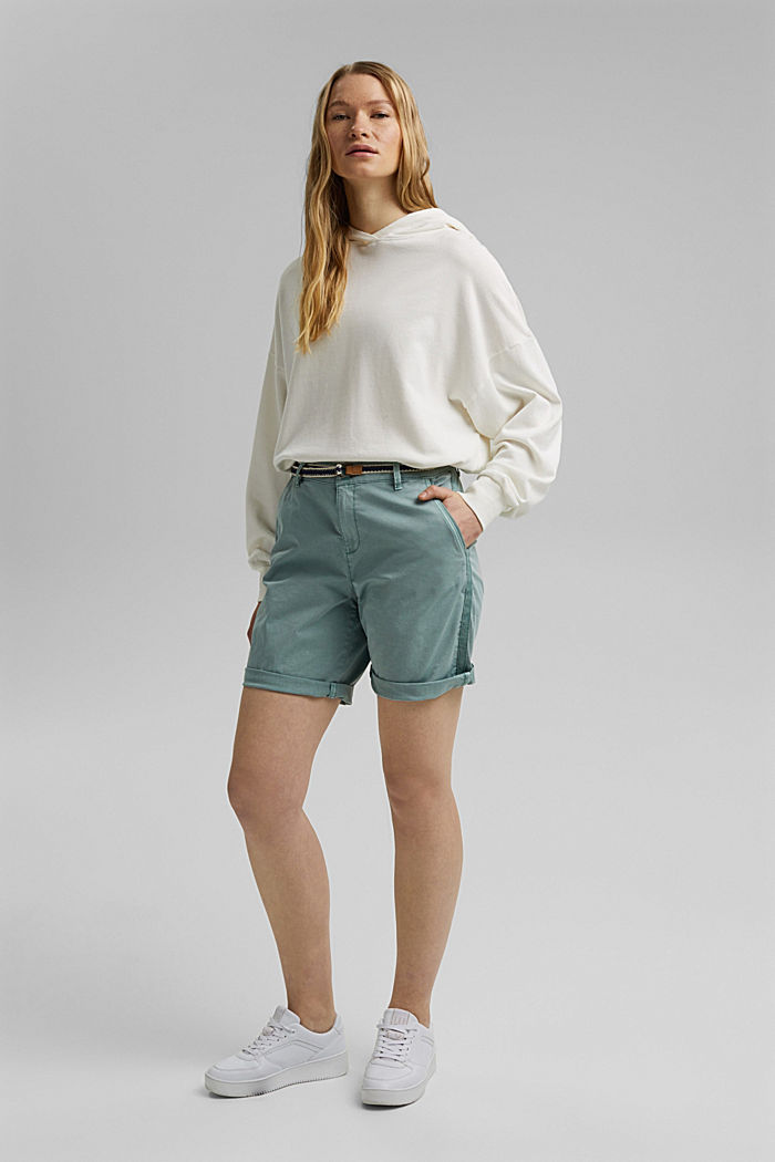 Stretch cotton Bermudas with a belt, TURQUOISE, detail image number 1
