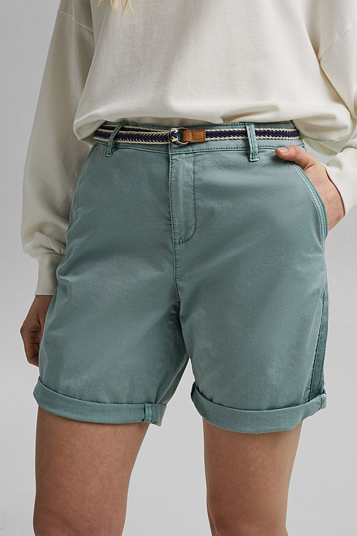 Stretch cotton Bermudas with a belt, TURQUOISE, detail image number 2
