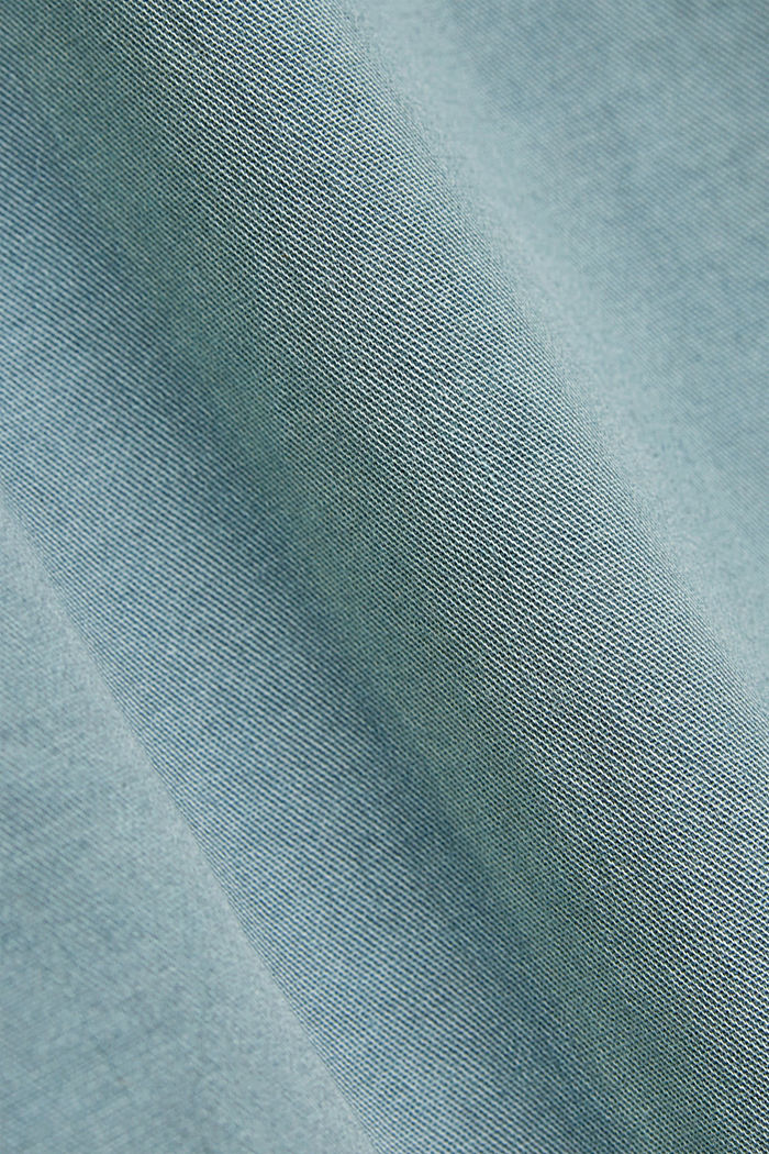 Stretch cotton Bermudas with a belt, TURQUOISE, detail image number 4