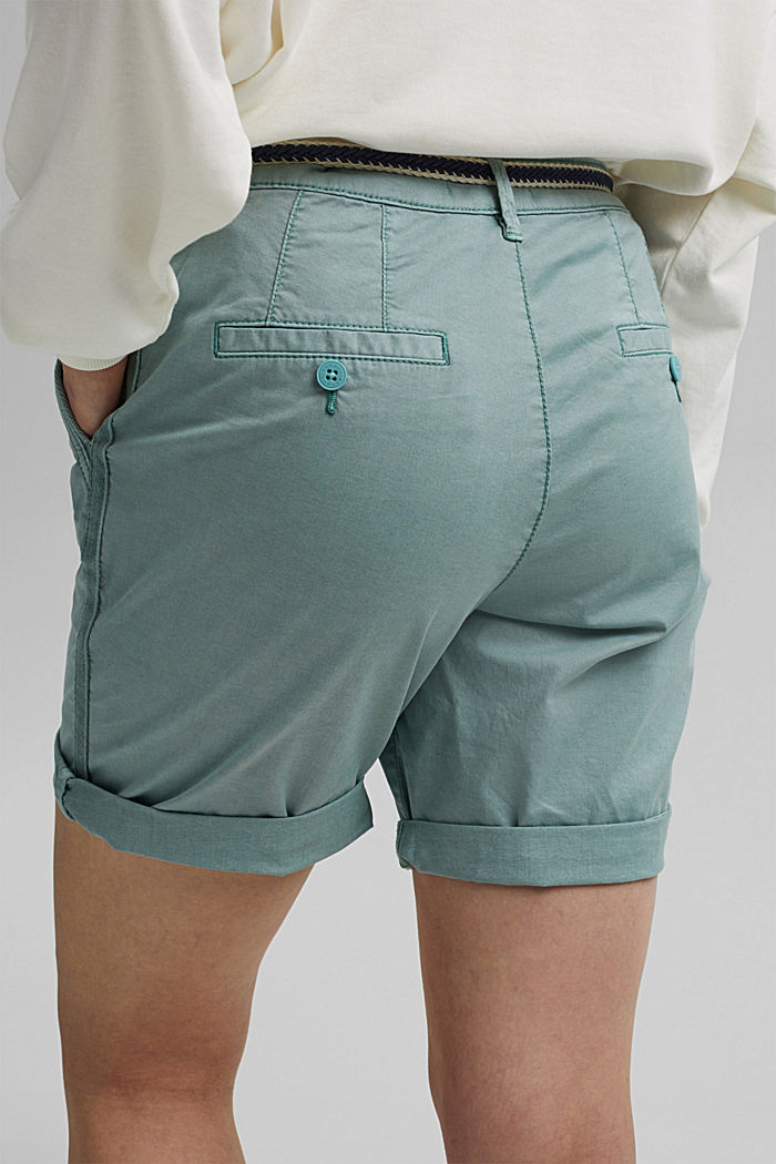 Stretch cotton Bermudas with a belt, TURQUOISE, detail image number 5