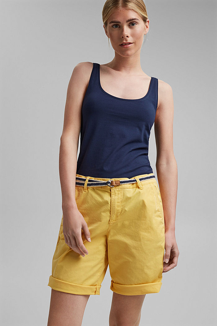 Stretch cotton Bermudas with a belt, SUNFLOWER YELLOW, detail image number 0