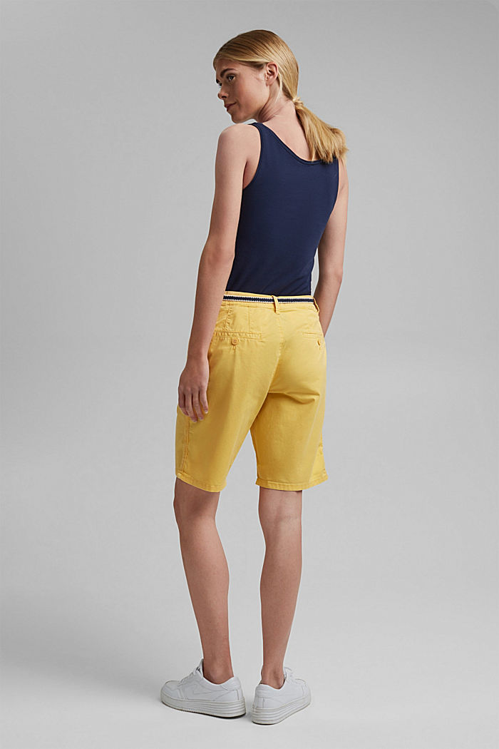 Stretch cotton Bermudas with a belt, SUNFLOWER YELLOW, detail image number 3
