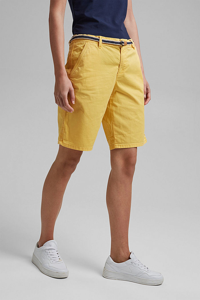 Stretch cotton Bermudas with a belt, SUNFLOWER YELLOW, detail image number 5