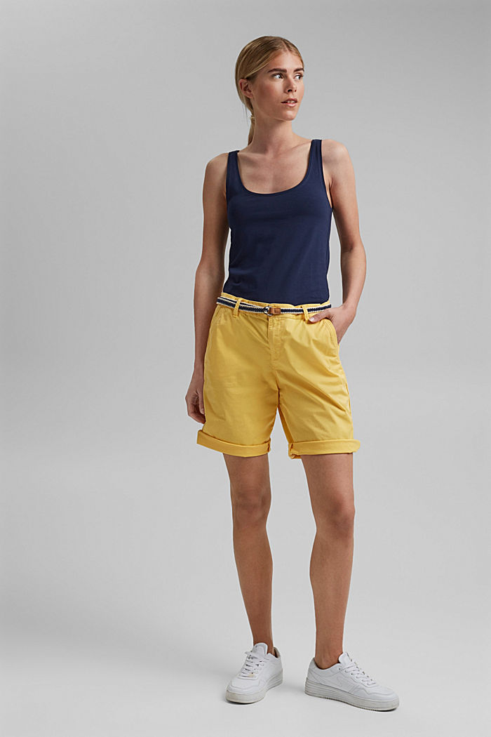 Stretch cotton Bermudas with a belt, SUNFLOWER YELLOW, detail image number 1
