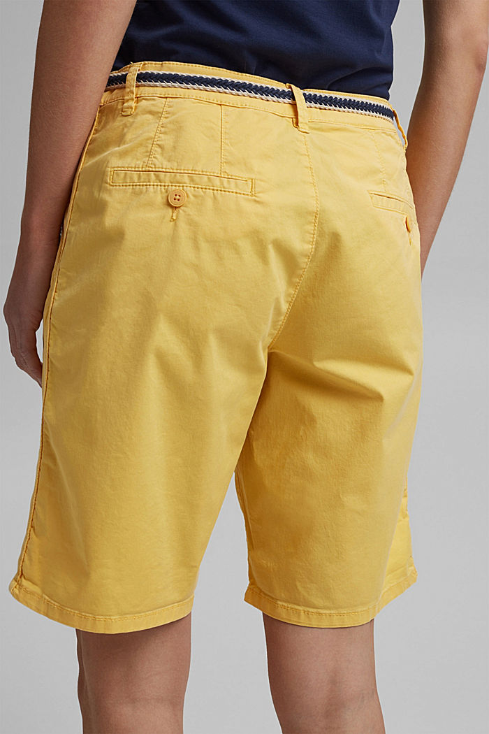 Stretch cotton Bermudas with a belt, SUNFLOWER YELLOW, detail image number 2