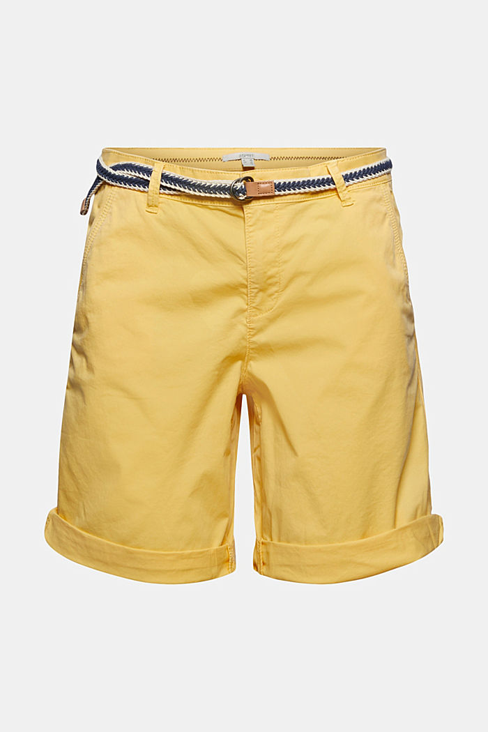 Stretch cotton Bermudas with a belt, SUNFLOWER YELLOW, detail image number 6