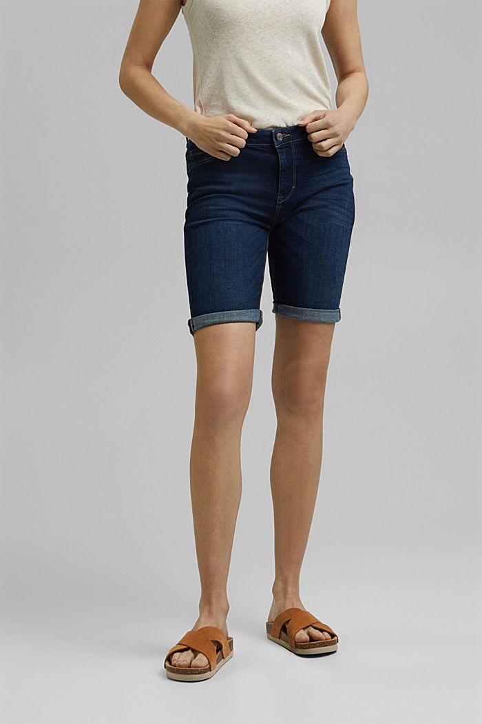 Jeans-Shorts aus Bio-Baumwoll-Mix, BLUE DARK WASHED, detail image number 0