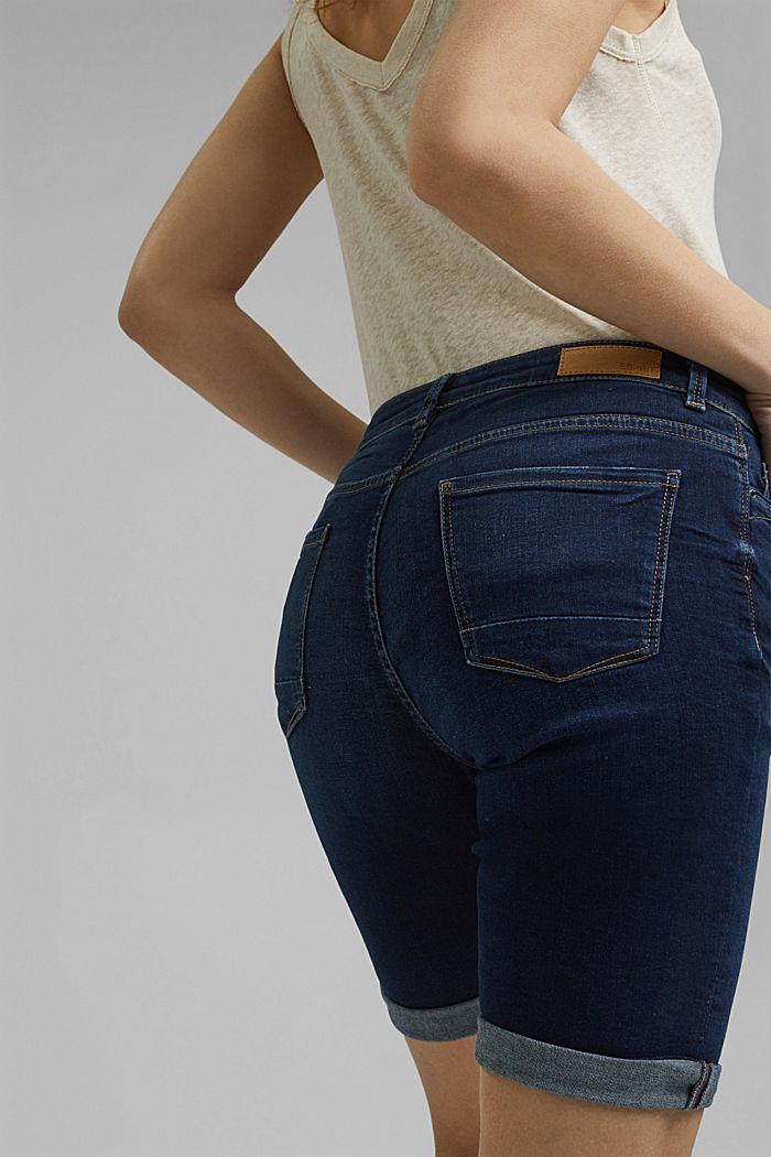 Jeans-Shorts aus Bio-Baumwoll-Mix, BLUE DARK WASHED, detail image number 5
