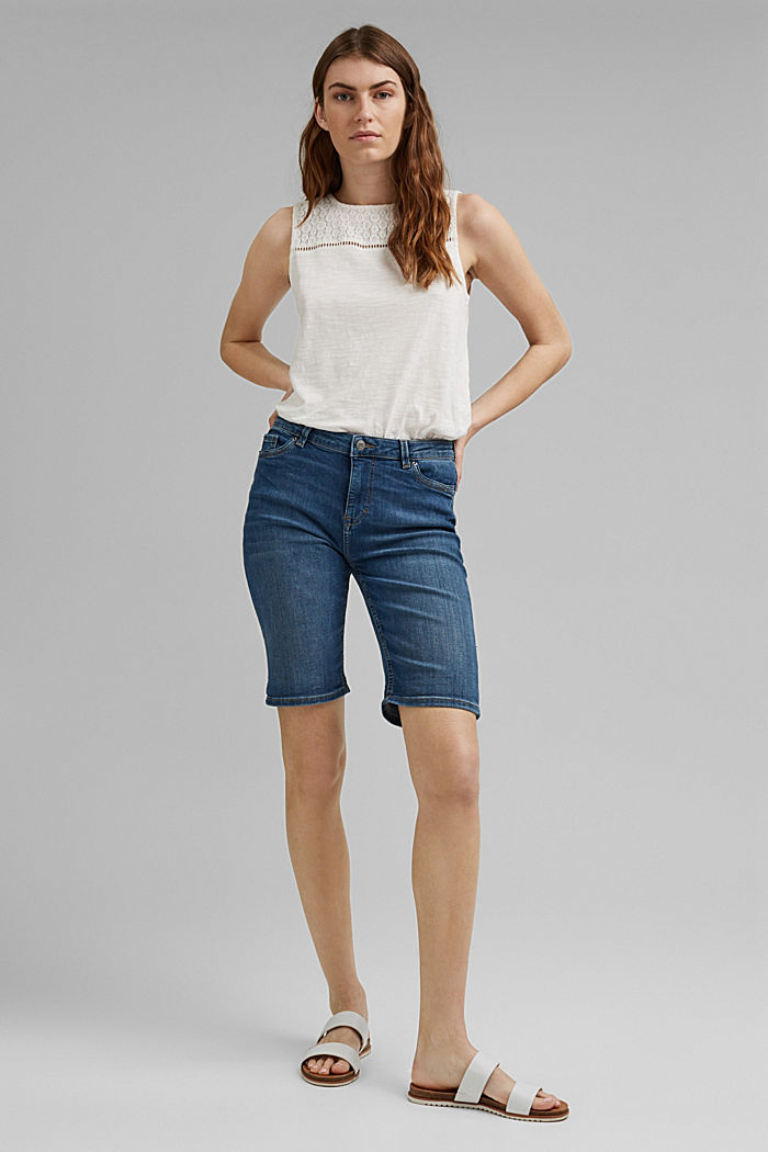 Jeans-Shorts aus Bio-Baumwoll-Mix, BLUE MEDIUM WASHED, detail image number 1
