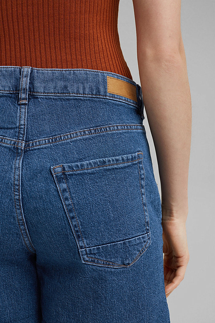 Vaqueros cortos de algodón ecológico, BLUE MEDIUM WASHED, detail image number 5