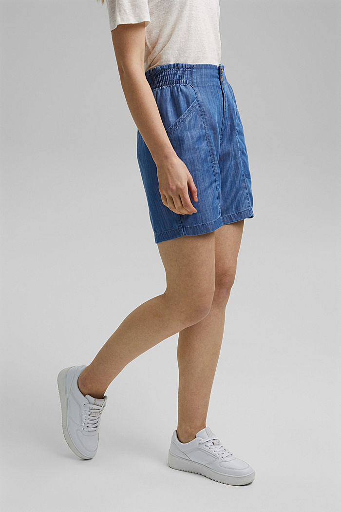 Aus TENCEL™: Shorts im Jeans-Look, BLUE MEDIUM WASHED, detail image number 0