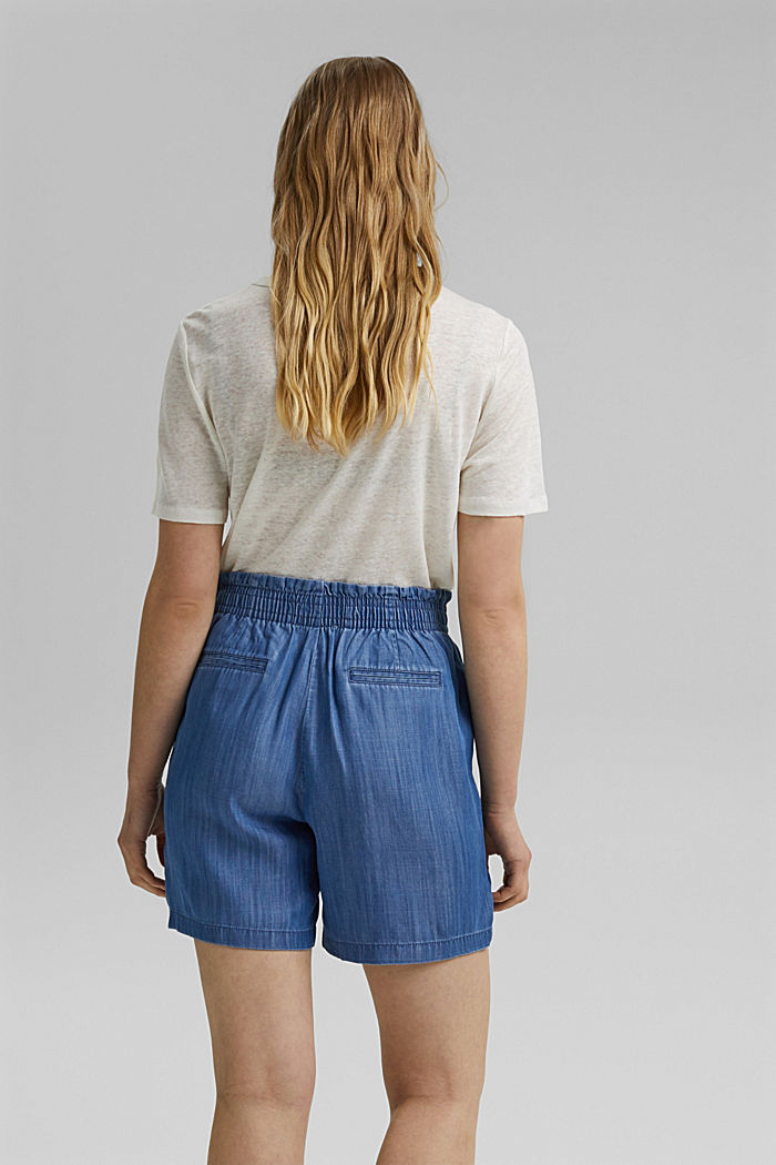 Aus TENCEL™: Shorts im Jeans-Look, BLUE MEDIUM WASHED, detail image number 3