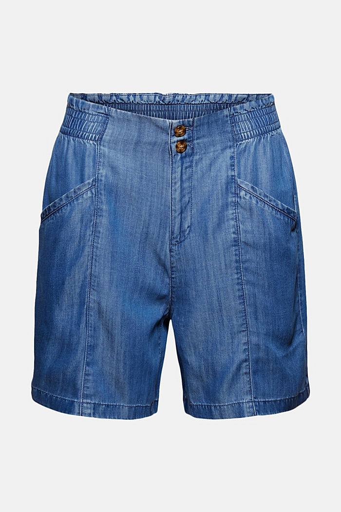 Aus TENCEL™: Shorts im Jeans-Look, BLUE MEDIUM WASHED, overview