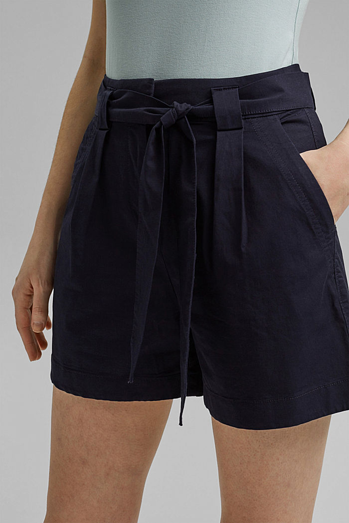 Shorts in a paper bag style with a belt, NAVY, detail image number 2