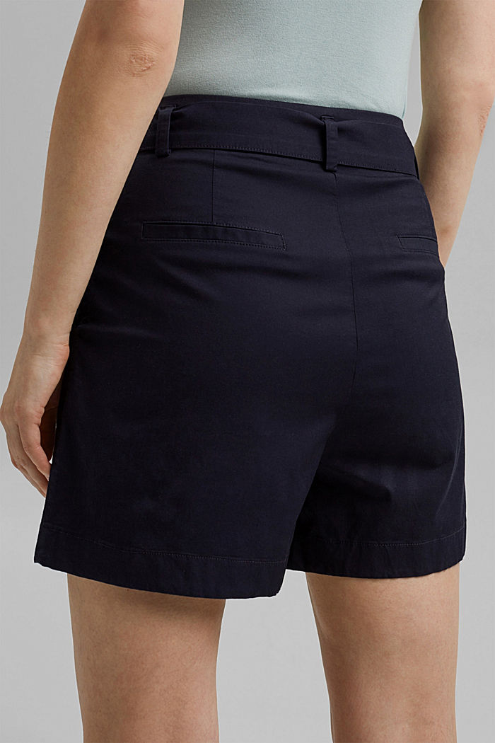 Shorts in a paper bag style with a belt, NAVY, detail image number 5