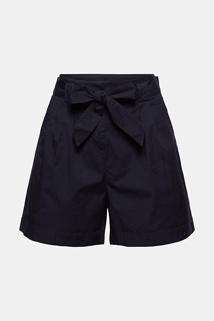 Shorts stile paperbag con cintura, NAVY, overview