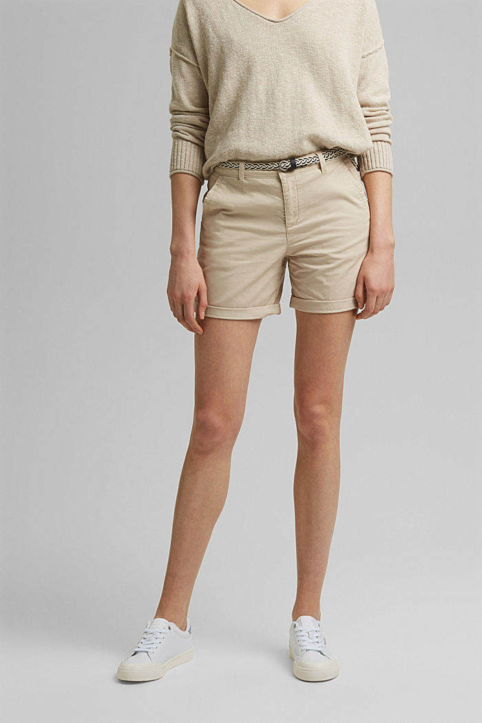 Stretch-Shorts mit Flechtgürtel, BEIGE, detail image number 0