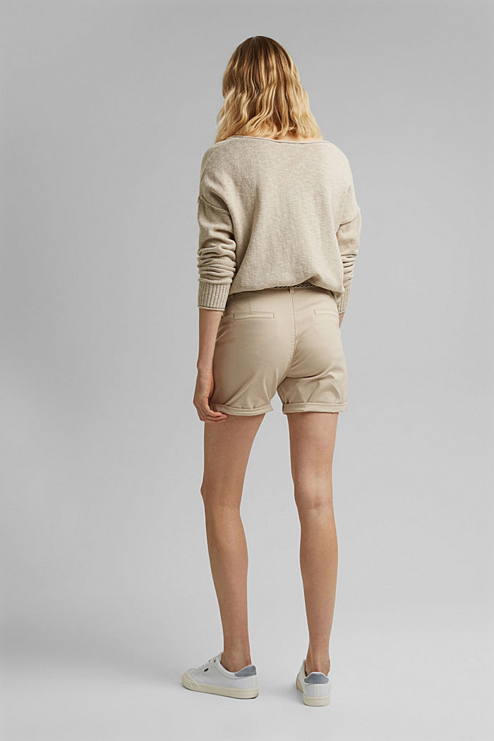 Stretch-Shorts mit Flechtgürtel, BEIGE, detail image number 3
