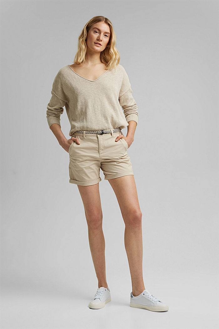 Stretch-Shorts mit Flechtgürtel, BEIGE, detail image number 7