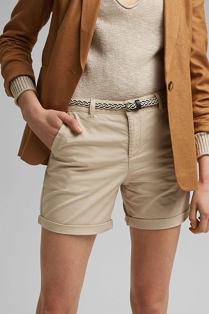 Stretch-Shorts mit Flechtgürtel, BEIGE, detail image number 2