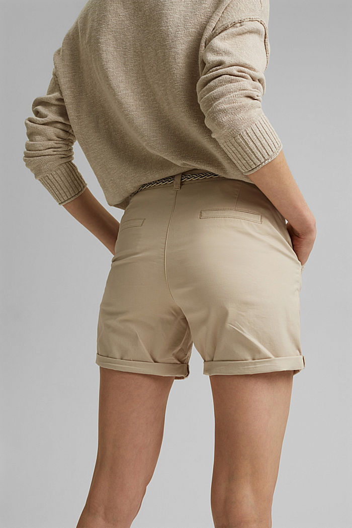 Stretch-Shorts mit Flechtgürtel, BEIGE, detail image number 5