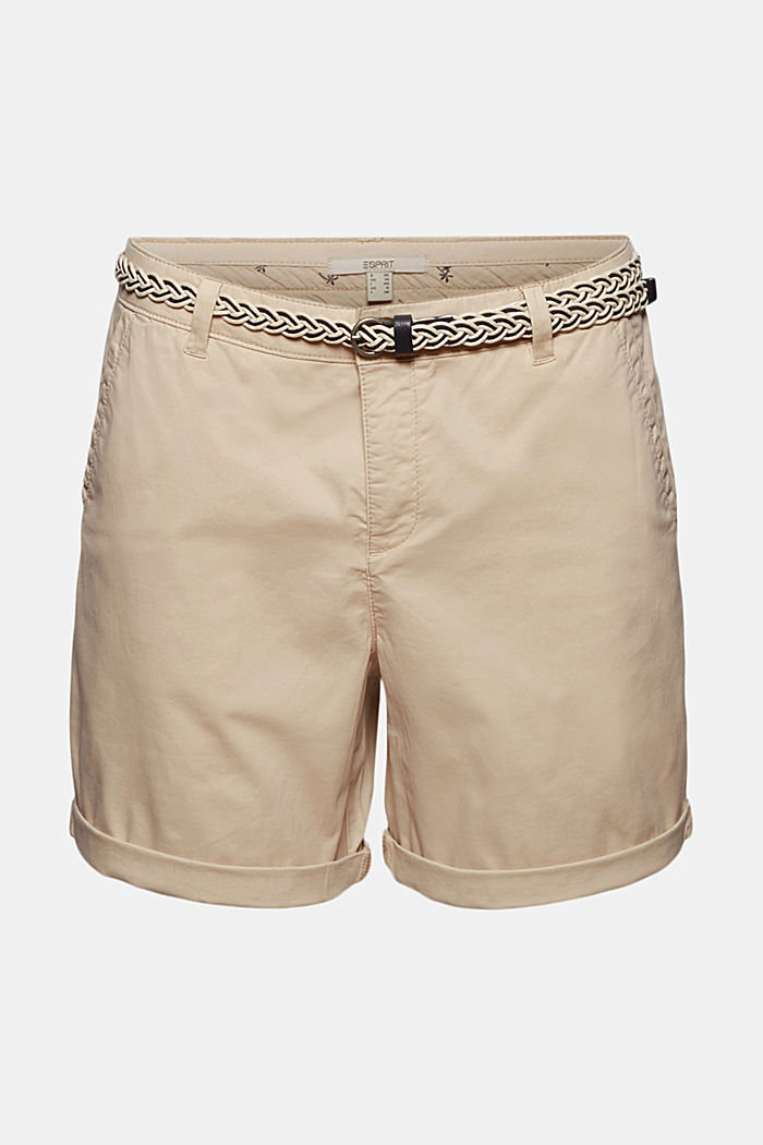 Stretch-Shorts mit Flechtgürtel, BEIGE, detail image number 8