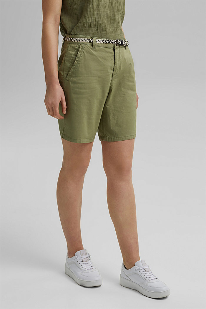 Stretch shorts with a woven belt, LIGHT KHAKI, detail image number 0