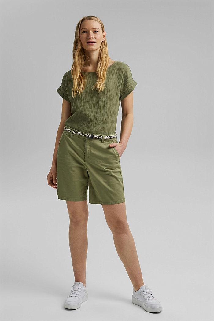 Stretch shorts with a woven belt, LIGHT KHAKI, detail image number 1