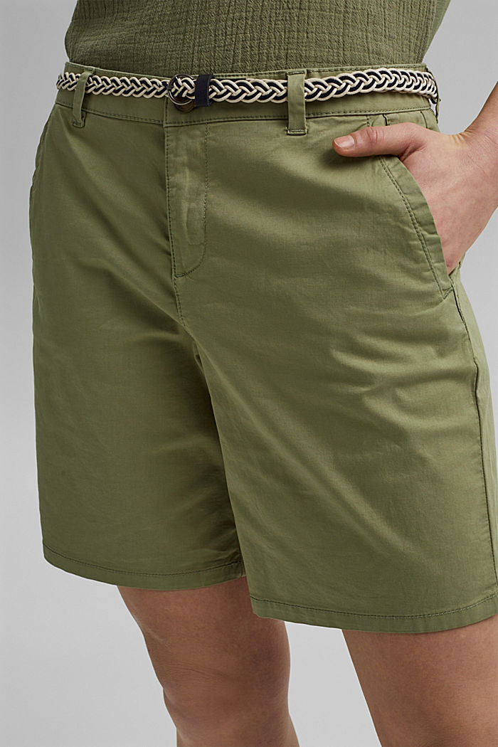 Stretch shorts with a woven belt, LIGHT KHAKI, detail image number 2