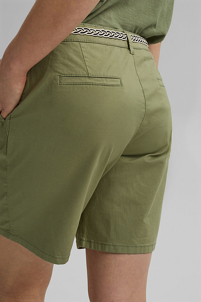 Stretch shorts with a woven belt, LIGHT KHAKI, detail image number 5