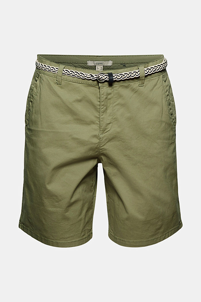 Stretch shorts with a woven belt, LIGHT KHAKI, detail image number 6
