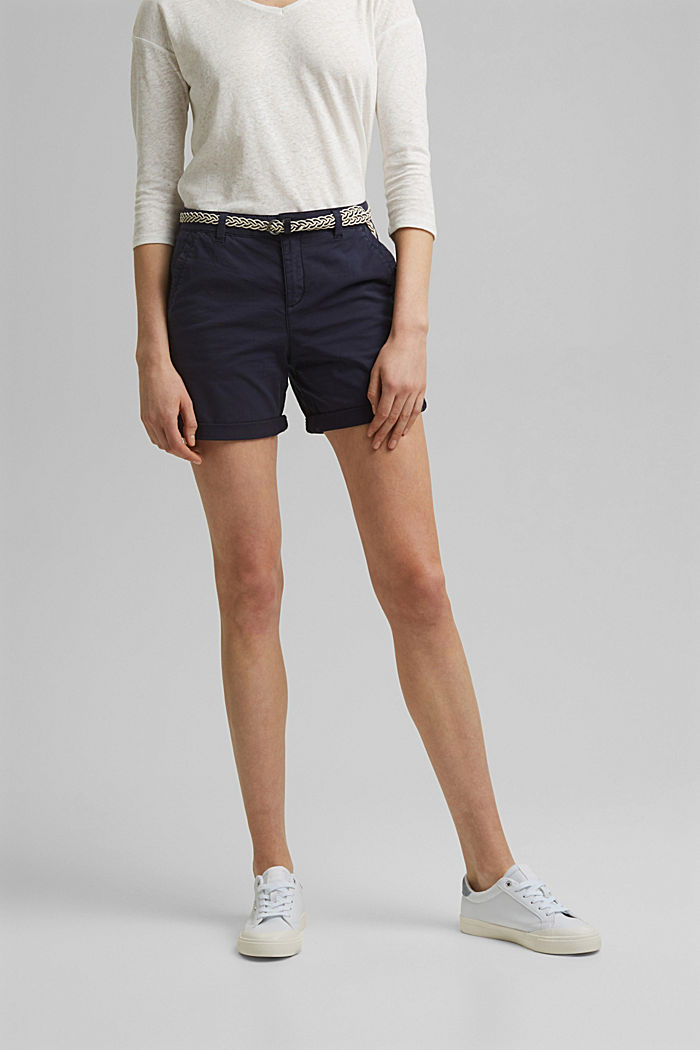 Stretch-Shorts mit Flechtgürtel, NAVY, detail image number 0