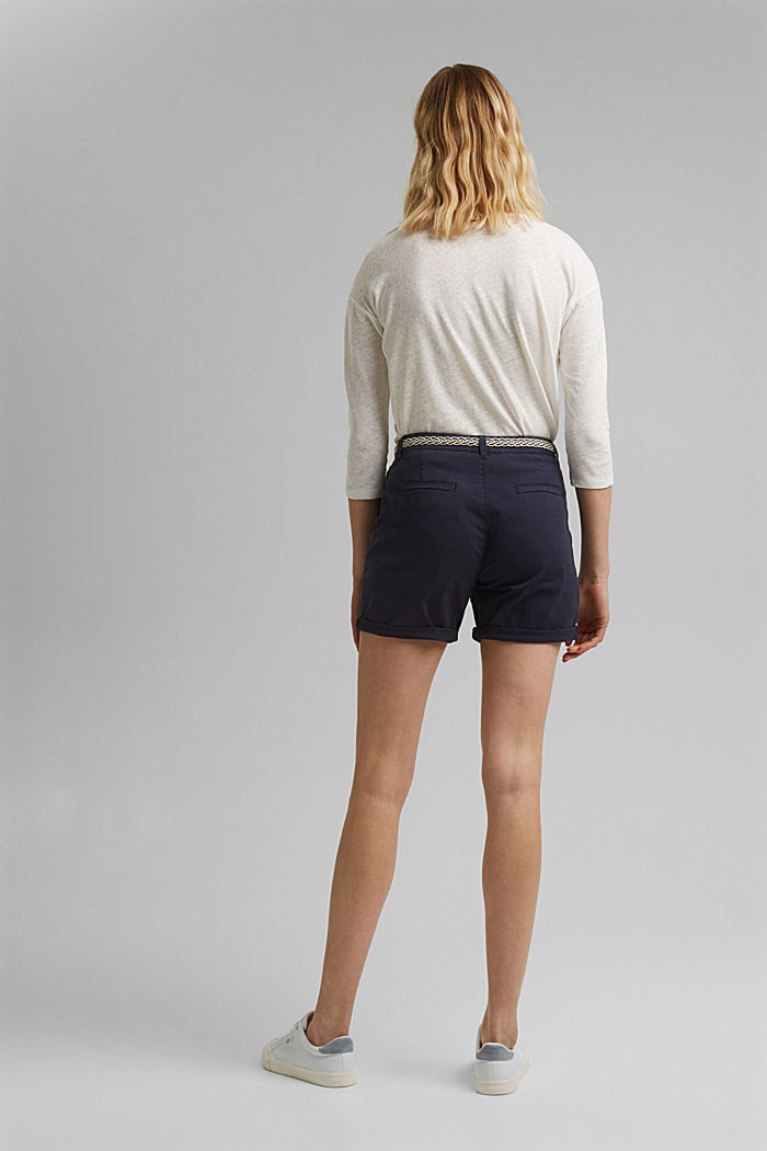 Stretch-Shorts mit Flechtgürtel, NAVY, detail image number 3