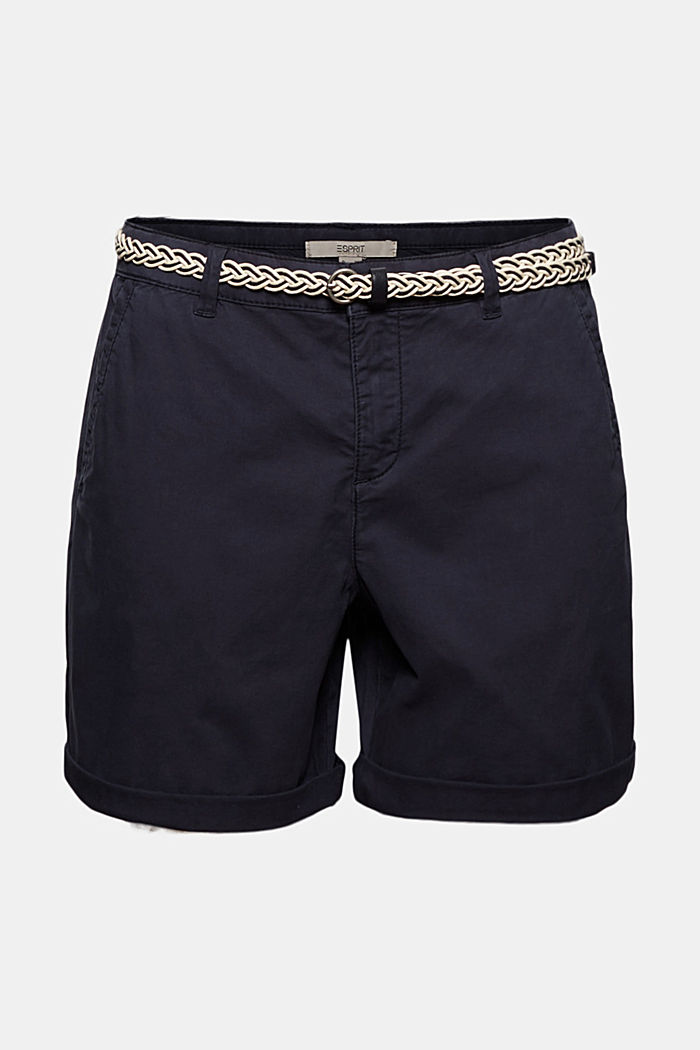 Stretch-Shorts mit Flechtgürtel, NAVY, detail image number 7