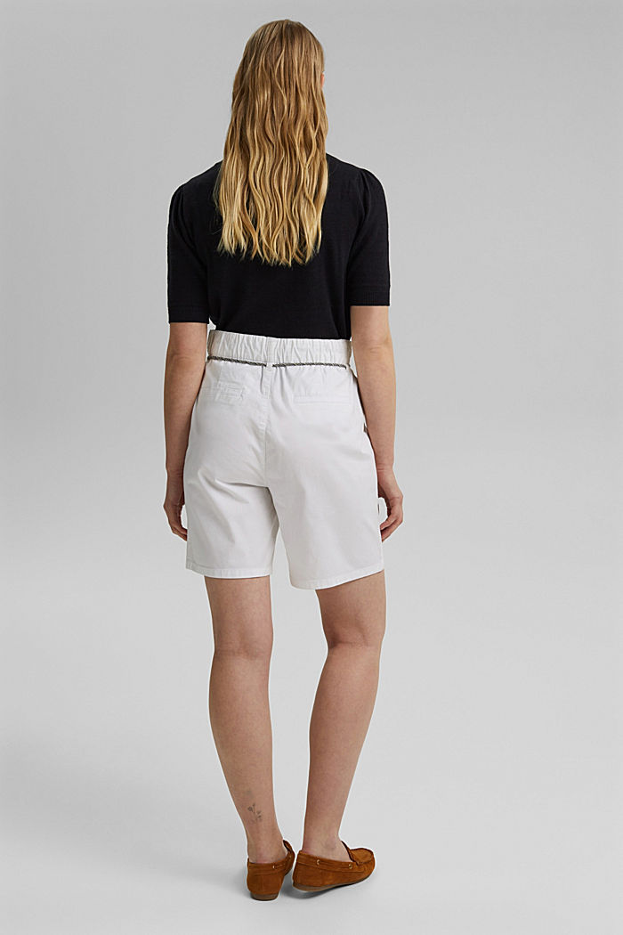 With a belt: utility shorts made of pima cotton, WHITE, detail image number 3