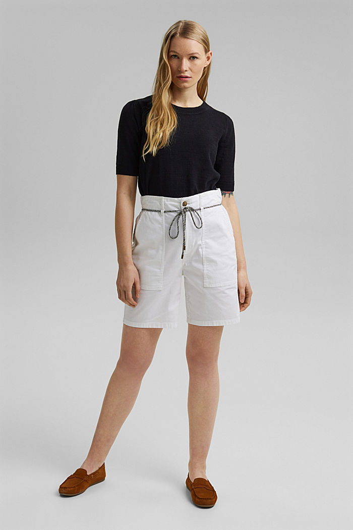 With a belt: utility shorts made of pima cotton, WHITE, detail image number 1